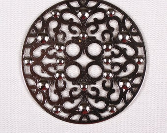 2 50mm, metal, silver buttons, 4 holes (3697)