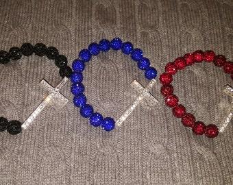 Shamballa pave rhinestone cross bracelet