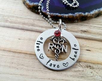 Nurse Gift~ Nurse Appreciation~ Nurse Accessories~ Nurse Necklace~ Live Love Heal~ RN Gifts~ RN Necklace~ RN Graduation Gift~ Nurse Charms~