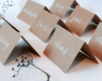 Wedding Calligraphy Place Cards (on a budget!)•kraft paper•
