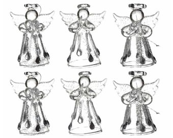 Set of 6 Glass Angels for Christmas Tree or Home Decoration