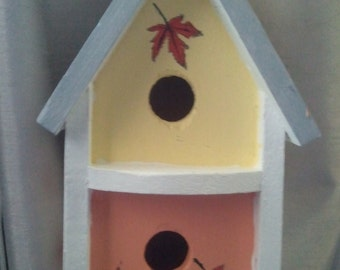 Mini Birdhouse Garden Stake (Large) - White, yellow, melon with leaves
