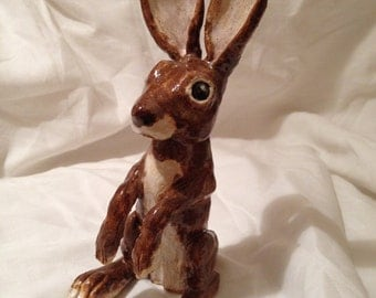 Ceramic Hare Sculpture by Clayed at Home (hand-made in the UK)