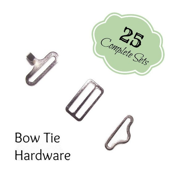 Twenty-Five Bow Tie Hardware, 3 piece sets, silver, hook, slide, eye