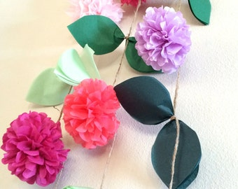 Custom floral pompom garlands