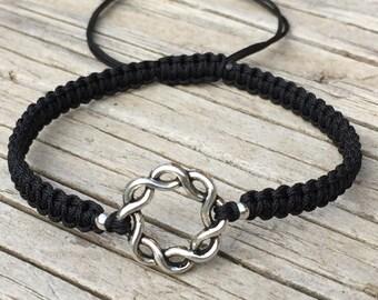 Circle Twist Bracelet, Circle Anklet, Adjustable Cord Macrame Friendship Bracelet, Eternity Bracelet, Eternity Jewelry, Karma Bracelet, Gift