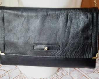 Vintage black leather clutch evening bag shoulder bag with silver chain strap from 80's