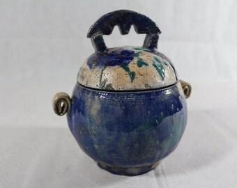 Raku Jar with Lid for storing Bijoux