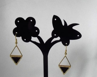 Triangle black/gold or red/Silver earrings