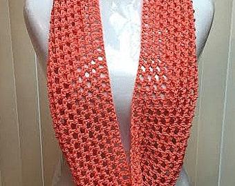 Crochet Scarf, Cotton Scarf, Summer Scarf, Lightweight Scarf, Peach Scarf, Crochet Summer Scarf, Spring Scarf, Infinity Scarf, Fashion Scarf