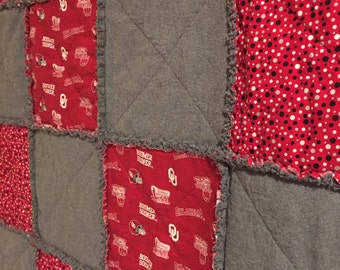 OSU or OU lap quilt throw - rag style