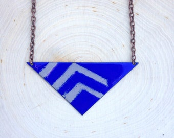 Ultramarine Blue Necklace with Grey