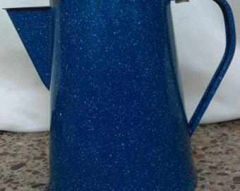Vintage Graniteware/Enamelware Blue Speckled Coffee Pot/Percolator