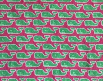 Vineyard Vines Hot Pink & Lime Green Whale Print Flannel Fabric
