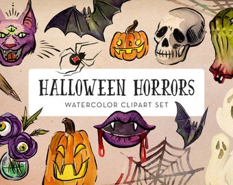 Halloween Horrors Watercolor Clipart Set - INSTANT DOWNLOAD - High Res, PNG, Printable and Scary!