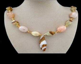 Botswana agate, Dragon skin agate, Pearl, necklace, chain, necklace, silver plattierter lock