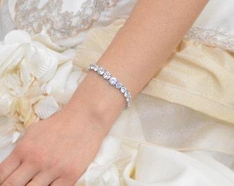 Wedding bracelet, cubic zirconia bridal bracelet, cz bracelet, crystal Bracelet, CZ wedding Silver Bracelet, CZ Jewelry, Ref BELLA