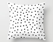 Black and White Pillow - Black and White Polka Dot Pillow - Modern Decorative Pillow - Velveteen Pillow Cover - Cushion Cover - Kids Pillows