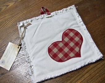 One-of-a-kind Canvas Potholder with Recycled Red Gingham Heart
