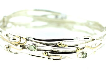Silver Green Amethyst, Pearl, Gold Bangle