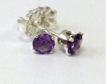 925 Sterling silver 4 mm round natural Amethyst Stud Earrings. US@GEMS