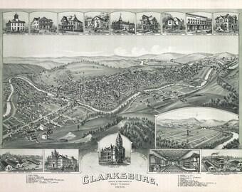 1898 Panoramic Map of Clarksburg West Virginia