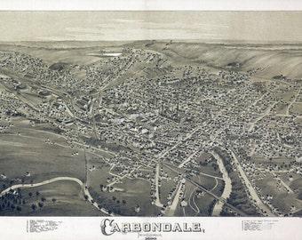 1890 Panoramic Map of Carbondale Pennsylvania