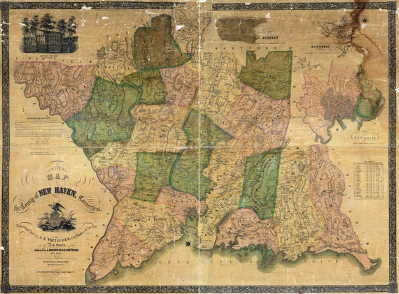 1852 map of new haven county connecticut. Black Bedroom Furniture Sets. Home Design Ideas
