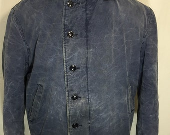 rare 70's vintage N-1 deck jacket us navy blue mens