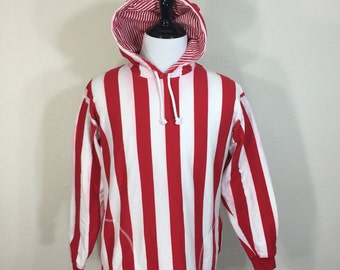 90's strired 100% cotton hoodie white red color size medium