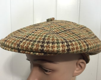 vintage wool newsboy hat plaid
