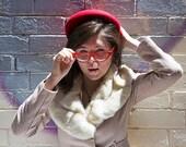 Retro Hat - Vintage Inspired Hat - Rockabilly Hat - Red Retro Hat - Red Ladies Hat - Red Hat - Red Felt Hat - Retro Felt Hat - Red 1950s Hat