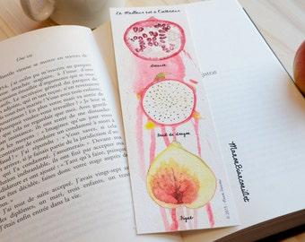 Bookmark-Exotic fruits -Nature illustration -Gourmand -Watercolor Art -Original Gift- Birthday- Valentine's Day