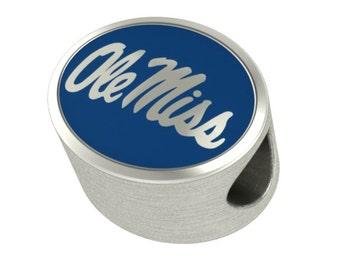 Mississippi Rebels OLE MISS Silver Enamel Bead Fits Most European Style Charm Bracelets.