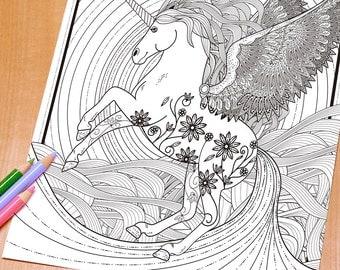 Beautiful Unicorn - Adult Coloring Page Print