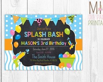 Water Party, Splish Splash Birthday Bash, Backyard Water Birthday Party Invitation