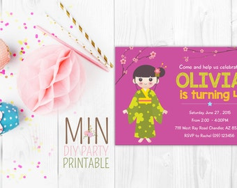 Japanese Girl Birthday Invitation, Kokeshi Doll Printable, Kokeshi Doll Japanese, Japanese Girl Birthday Invitation, Japanese Invitation