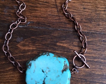 Turqouise copper statement necklace 16""
