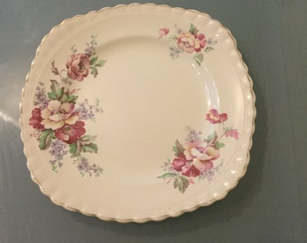 J & G Meakin England chintz pink and white  flowers in cream plate 1912 ironstone china plate 9 inches diameter