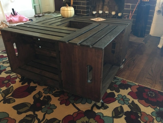 Handmade crate coffee table for Crate style coffee table