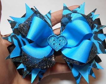 Black & Blue Hair Bow, Blue Hair Bow, Zebra Print Hair BowBoutique Bow, Boutique Hair Bow, Hair Bow, Boutique Bow, Boutique Stacked Hair Bow