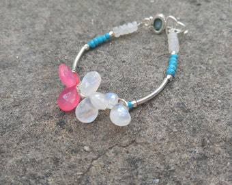 Moonstone turquoise pink chalcedony  sterling silver bracelet