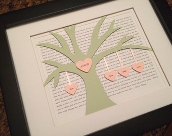 Wedding Gift for Couple, Wedding Song Frame, Framed Vows, Anniversary Gift, Blended Family Tree, 1st Anniversary Gift for Him, Lyric Picture