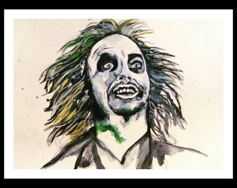Original Beetlejuice Watercolor Print