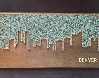 Custom Denver Skyline String Art