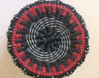 Stack Black and Red by Twisted Spokes : Hand Woven Basket, Twined Basket