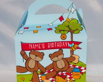 Teddy Bears' Picnic Personalised Children's Party Box Gift Bag Favour