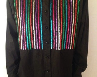 100% cotton black tuxedo shirt with sequins - sequined shirt - new years eve shirt - party shirt size M