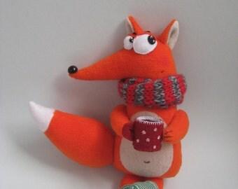 Fox Toy.Stuffed Animal.Art Doll Fox.Fox with a Cup of Tea