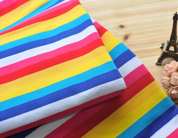 Rainbow Stripe Fabric Cotton Lycra Stretch Knit Fabric